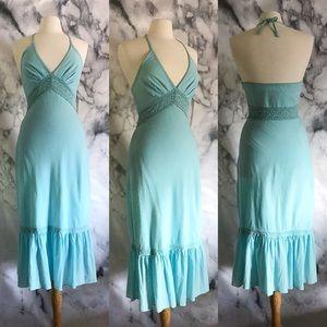EXPRESS Gauze Crochet Lace Ruffle Halter Dress